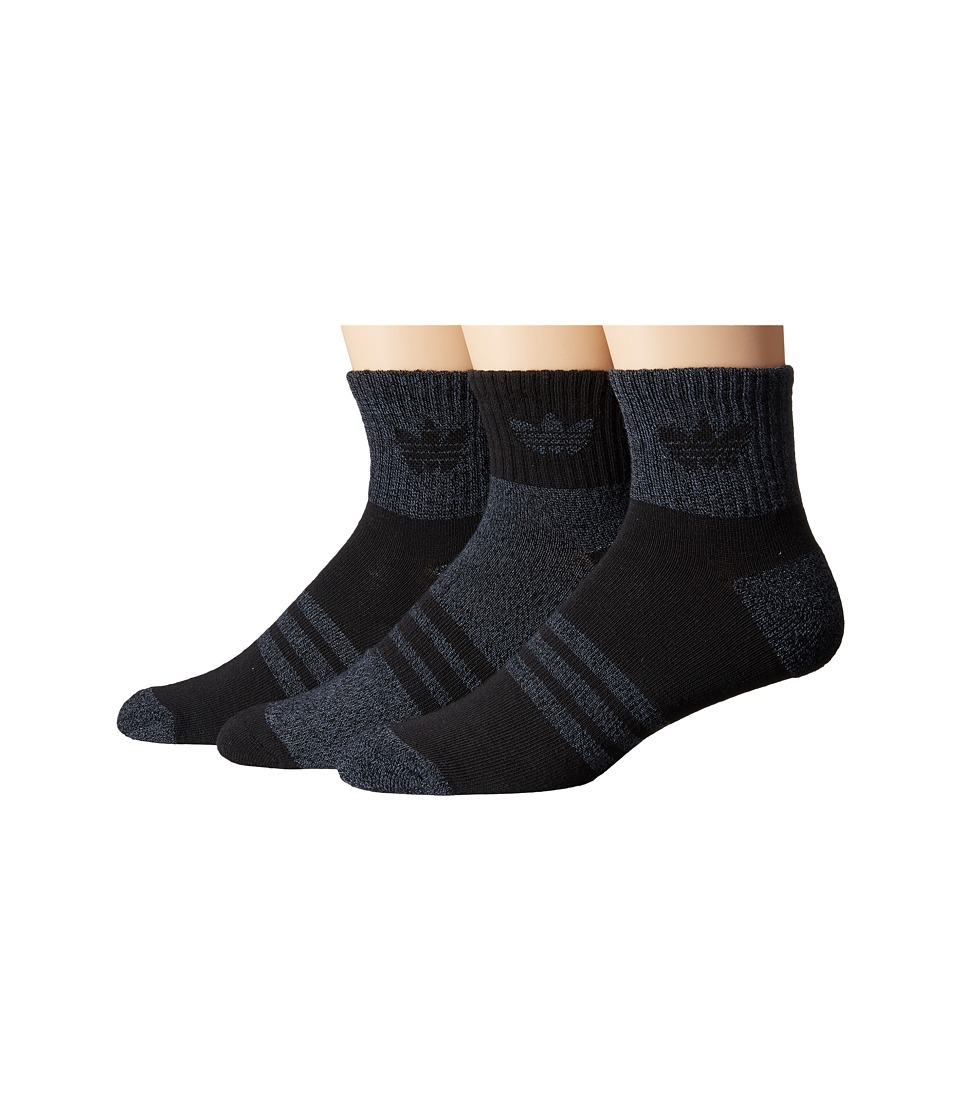 adidas Originals Cushioned Quarter 3 Pack Socks Black/Black Onix Marl Mens Crew Cut Socks Shoes