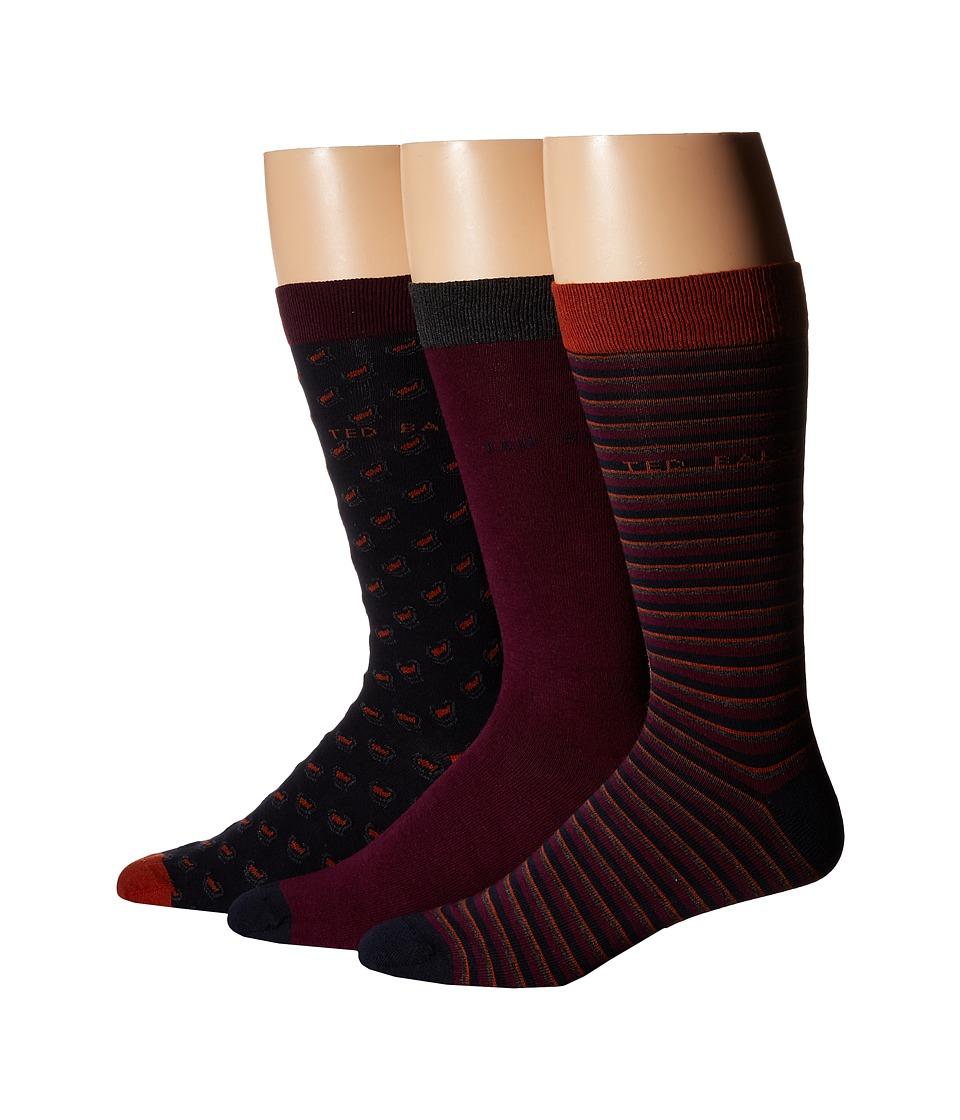 Ted Baker Britsat Original Stripe Plain Geo Socks 3 Pack Assorted Mens Low Cut Socks Shoes