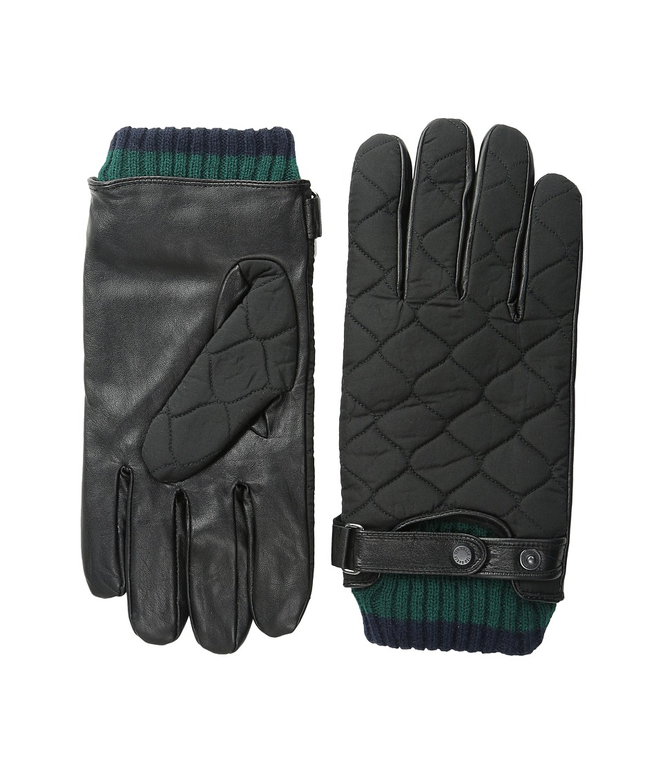 Ted Baker Hofquil Quilted Nylon Leather Gloves Black Extreme Cold Weather Gloves