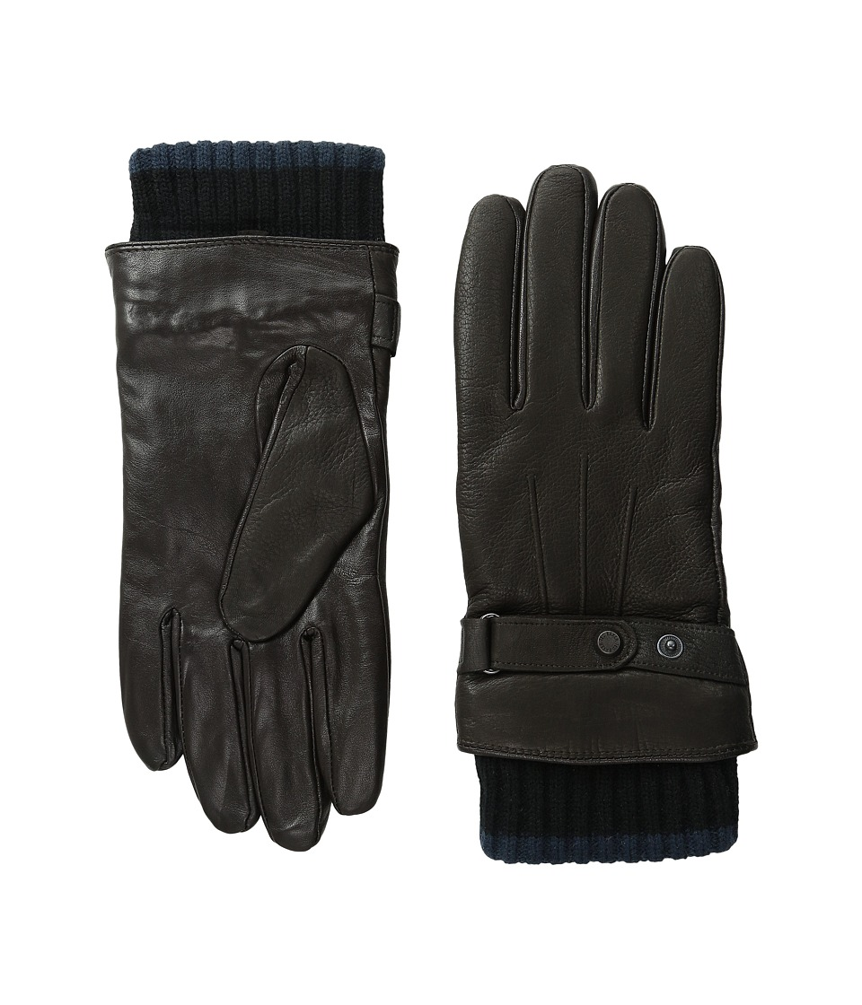Ted Baker Hoftoff Two Tone Ribbed Leather Gloves Chocolate Extreme Cold Weather Gloves