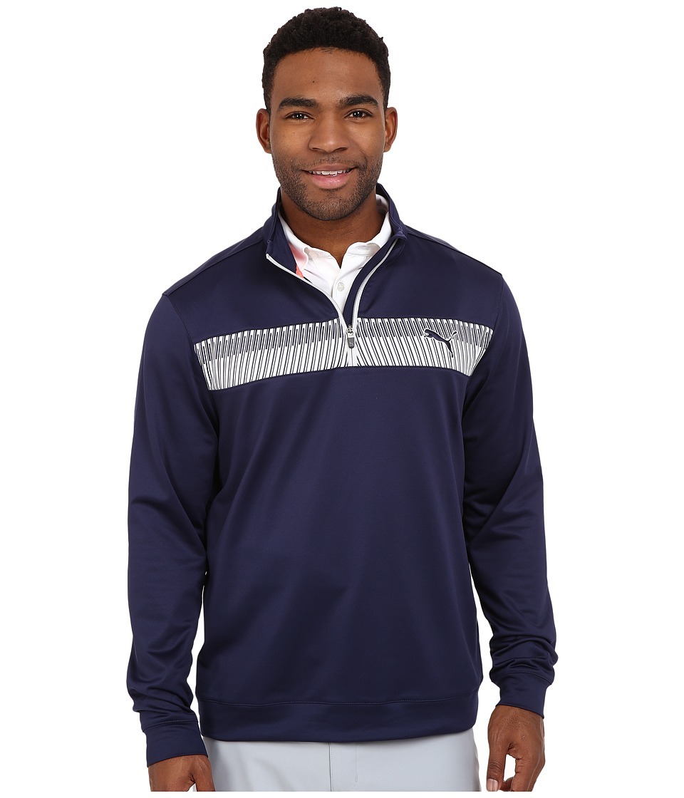 PUMA Golf 1/4 Zip Block Popover Peacoat Mens Clothing