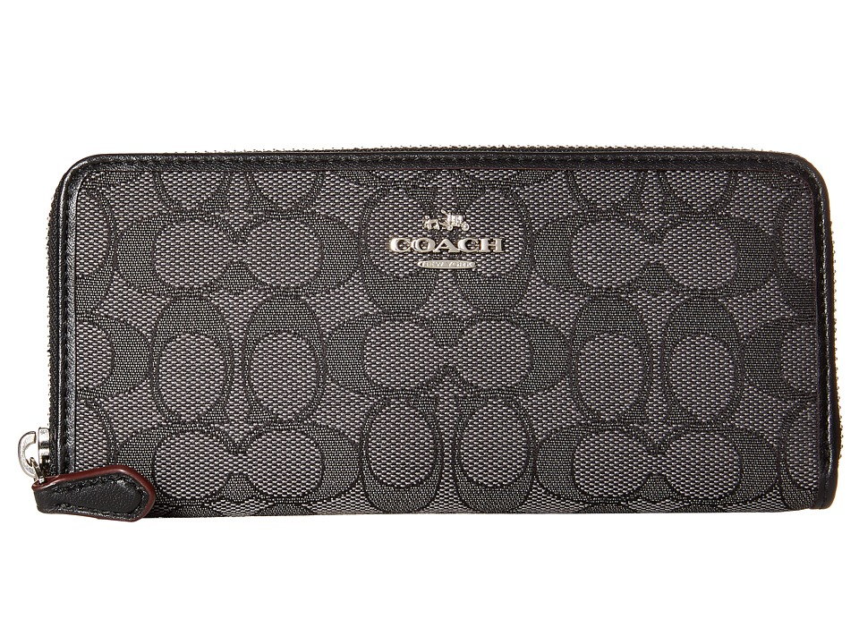 COACH - Signature Slim Accordion Zip (SV/Black Smoke/Black) Clutch Handbags
