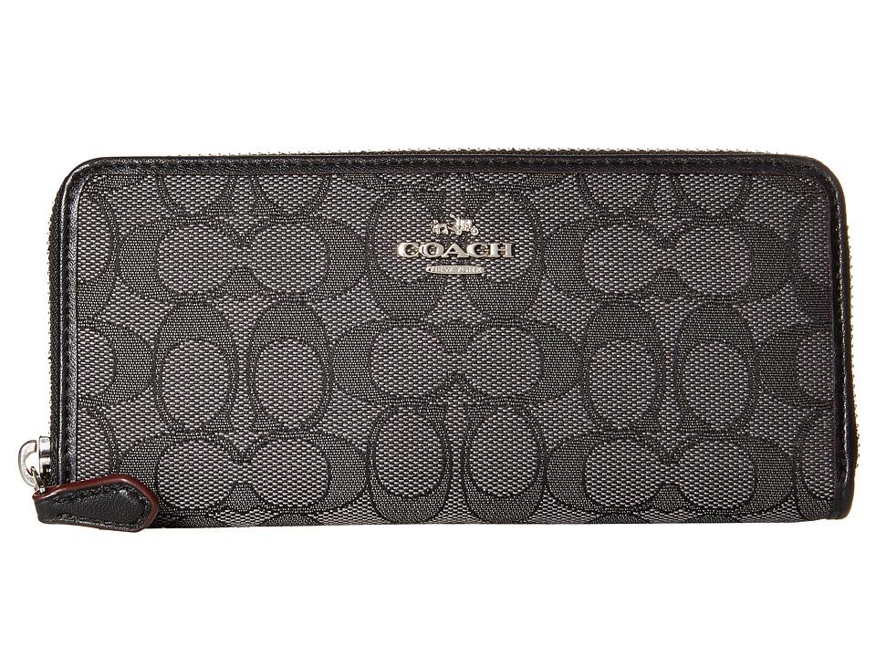 COACH - Signature Slim Accordion Zip (SV/Black Smoke/Black) Clutch Handbags