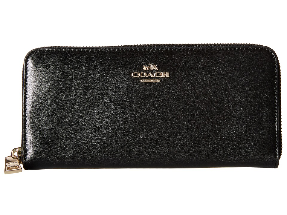 COACH - Smooth Slim Accordion Zip (LI/Black) Clutch Handbags