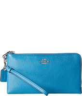 COACH - Polished Pebbled Leather Double Zip Wallet