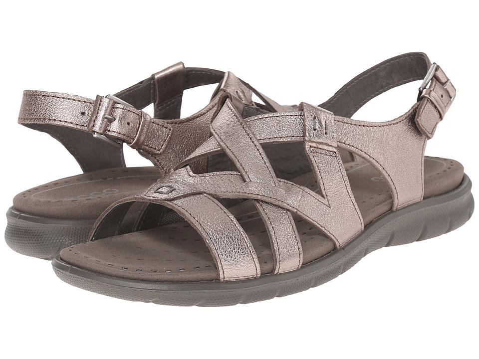 ECCO Babett Sandal Cross Strap Warm Grey Metallic Womens Sling Back Shoes