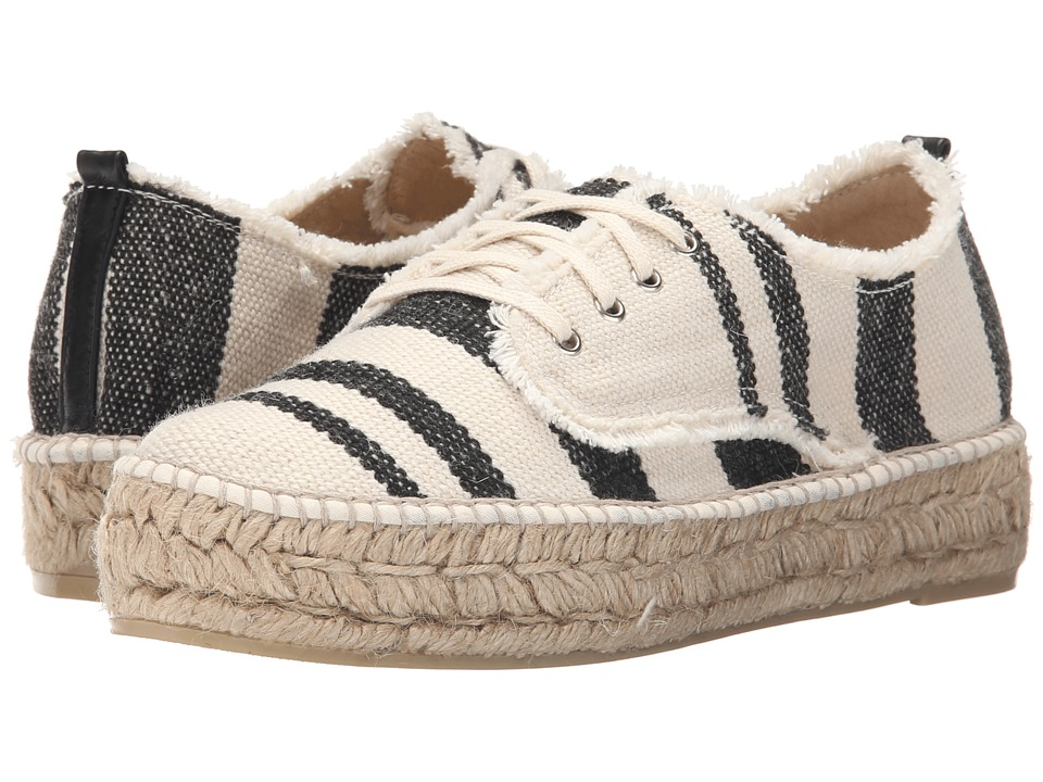 Loeffler Randall Alfie Black/Natural Woven Canvas Womens Lace up casual Shoes