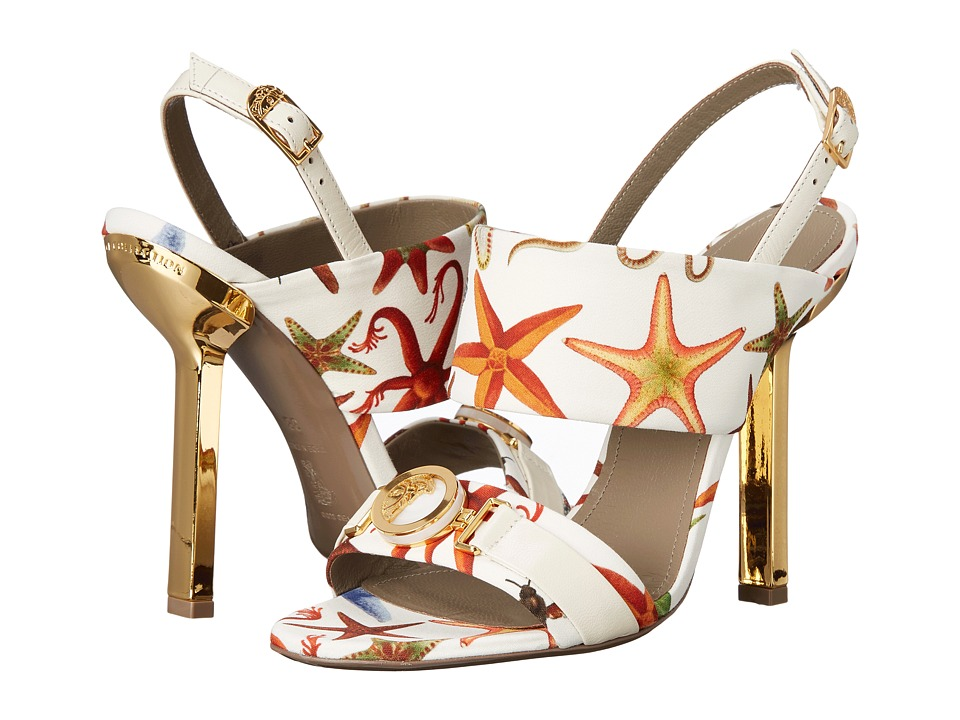 Versace Collection Oro Bizantino Printed Open Toe Heel Multi Bianco High Heels