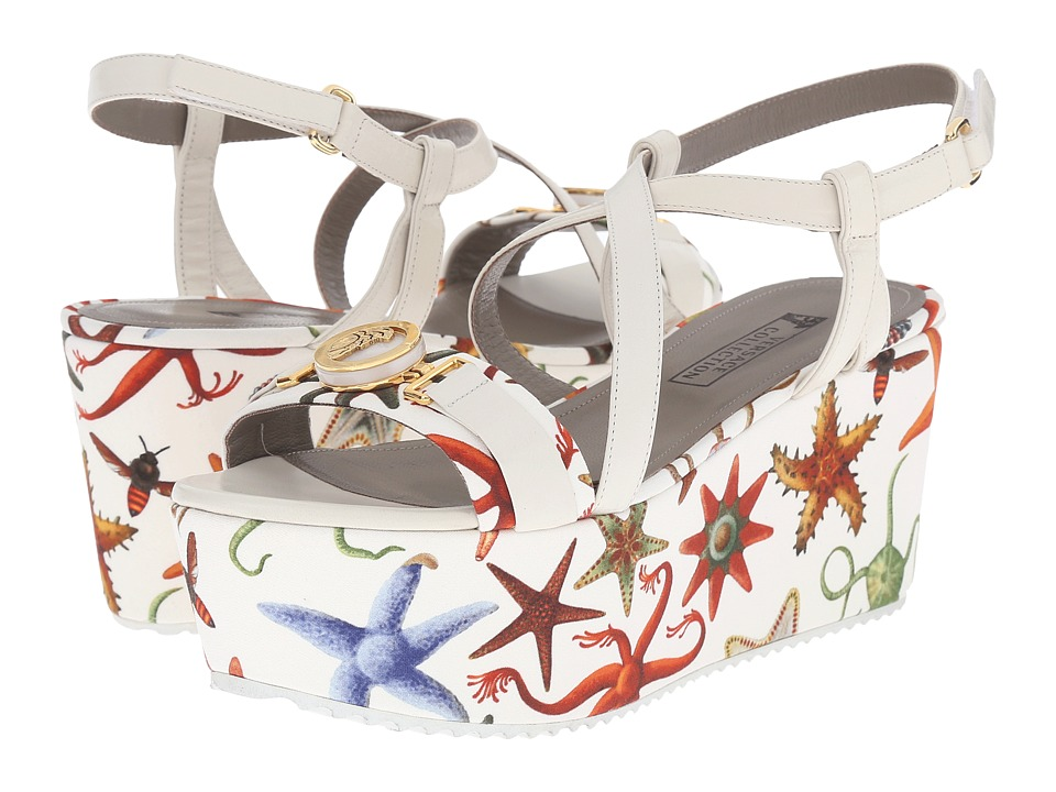Versace Collection Oro Bizantino Printed Flatform Multi Bianco Womens Wedge Shoes