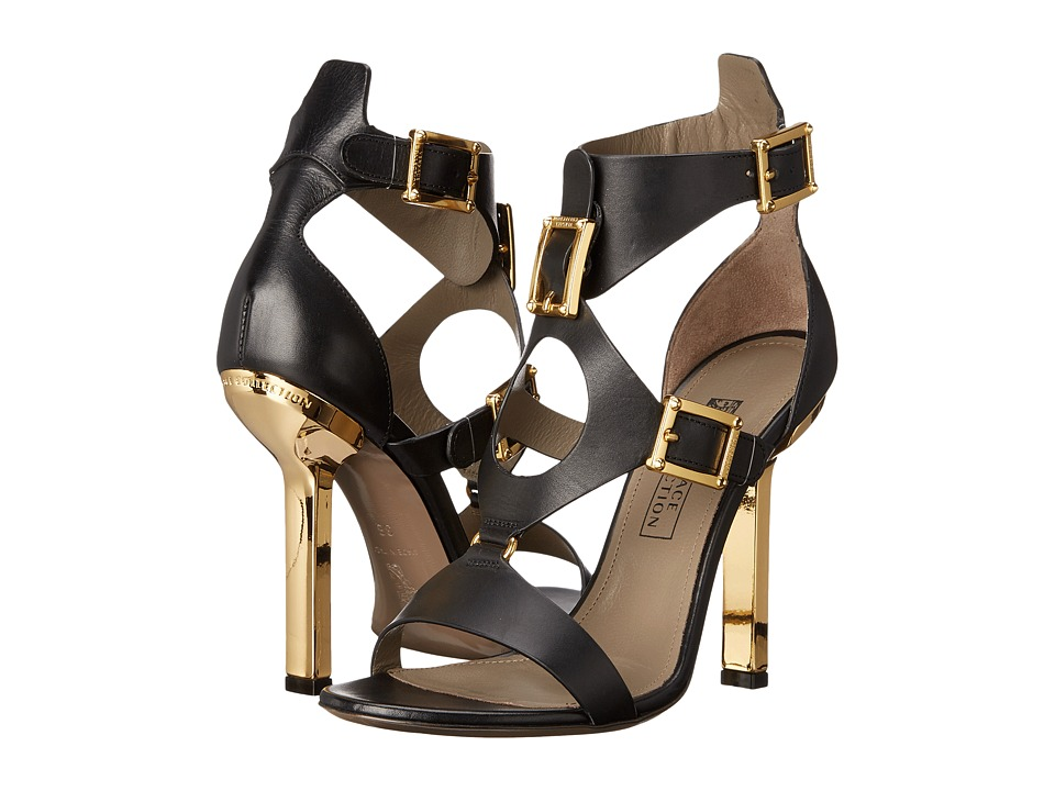 Versace Collection Oro Bizantino Open Toe Heel Nero Womens Shoes