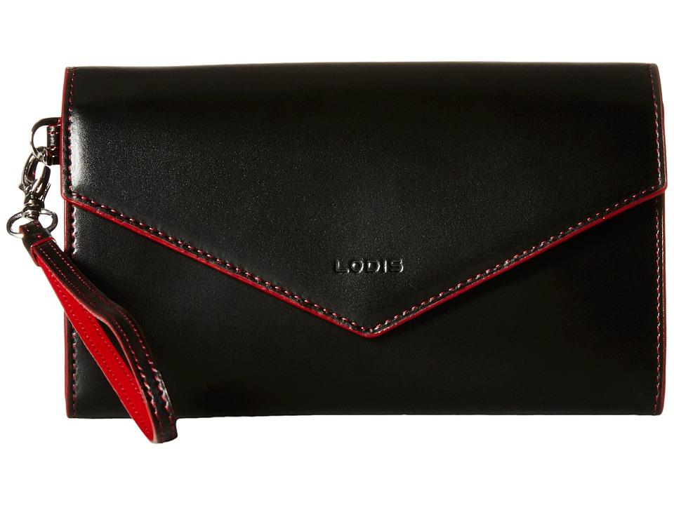 Lodis Accessories Audrey Ellen Wristlet Wallet Black/Red Wallet Handbags