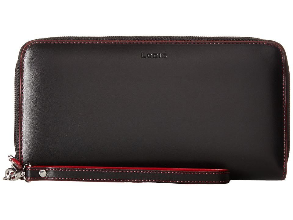 Lodis Accessories - Audrey Vera Wristlet Wallet (Black/Red) Wallet Handbags