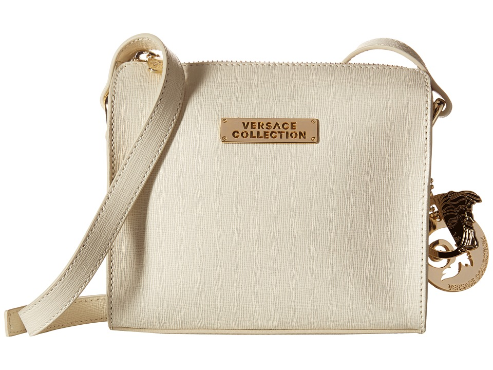 Versace Collection Oro Chiaro Leather Crossbody Beige Cross Body Handbags
