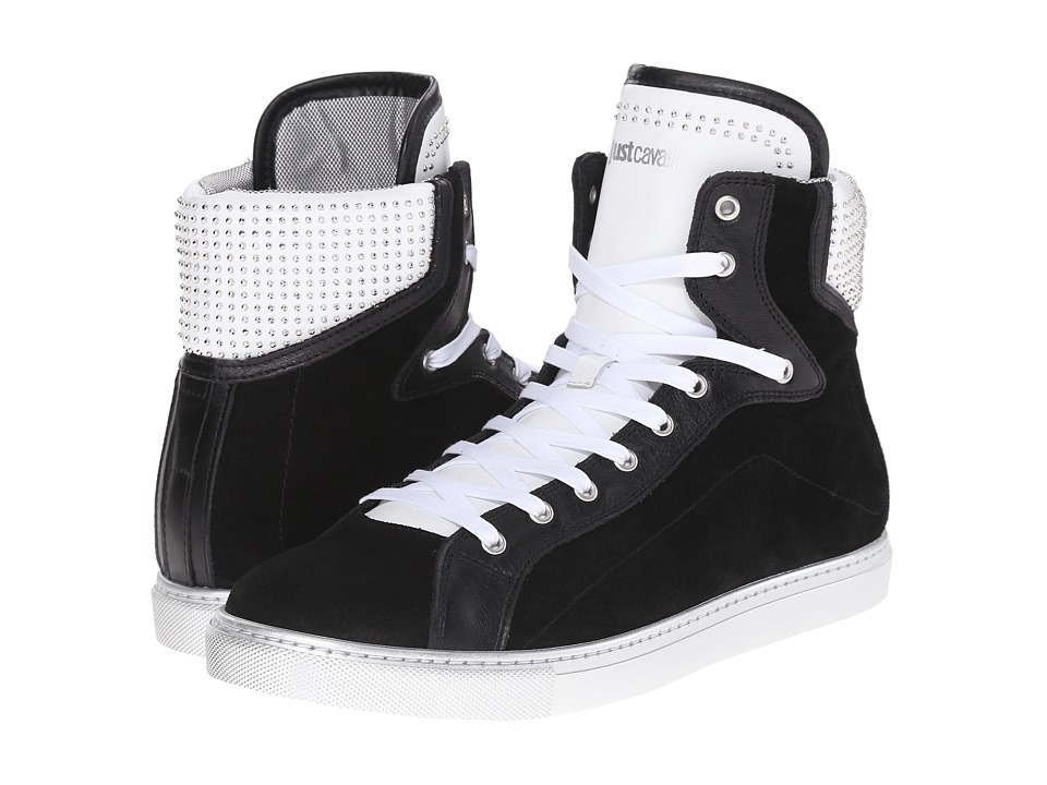 Just Cavalli Hightop w/ Suede and Stud Details Black Mens Shoes