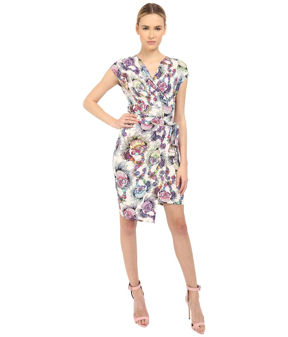 Just Cavalli Onirica Print Jersey Cap Sleeve Cocktail Dress Multicolor Womens Dress
