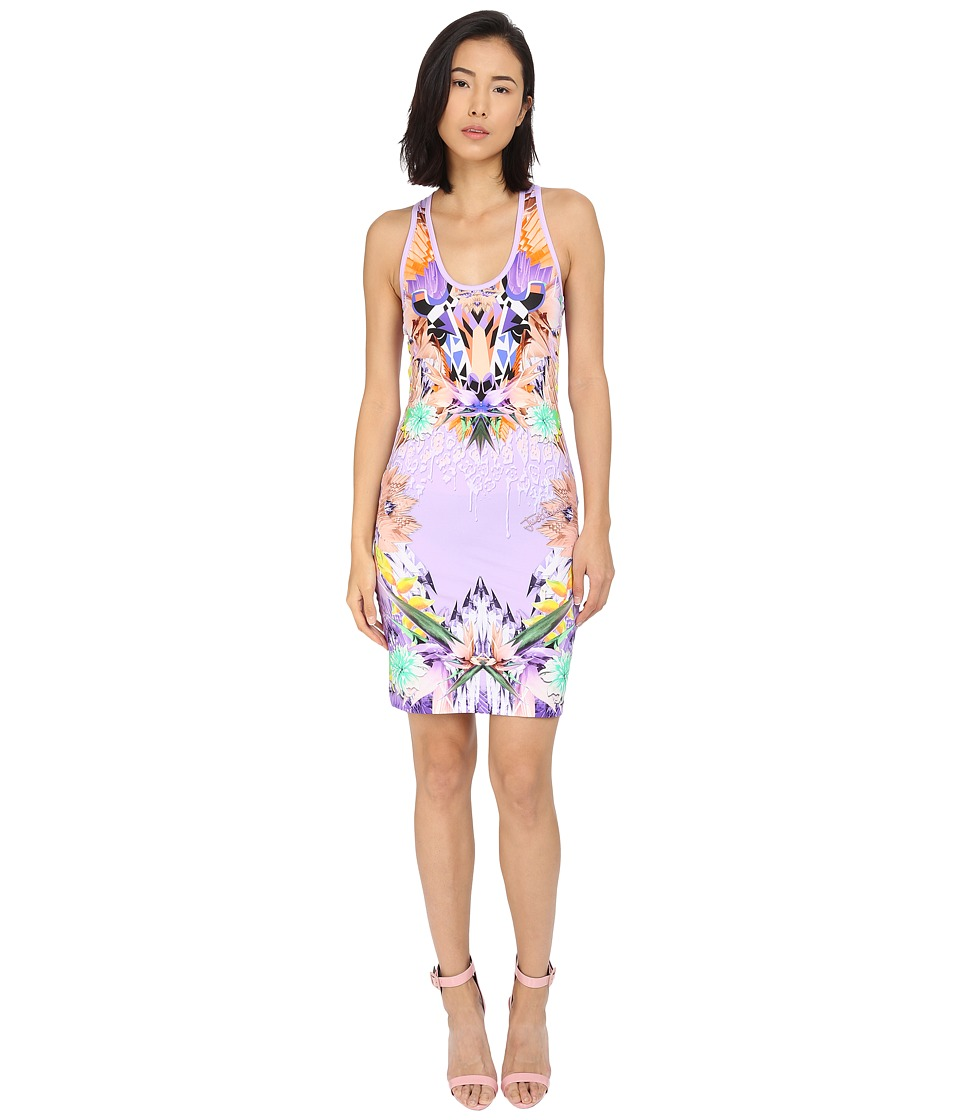Just Cavalli Fitted Printed Jersey Tank Dress Leo Giraffe Print Lux Violet Womens Dress