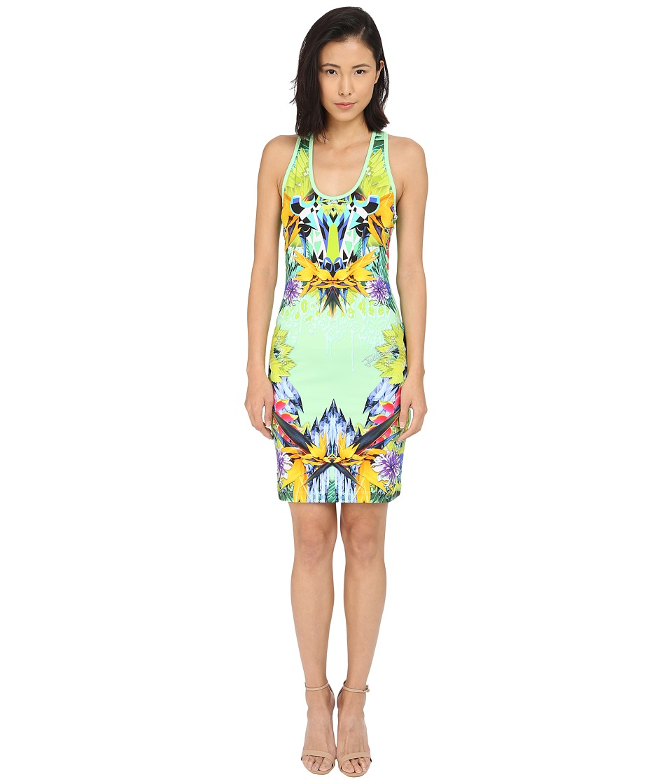 Just Cavalli Fitted Printed Jersey Tank Dress Leo Giraffe Print Lux Green Womens Dress