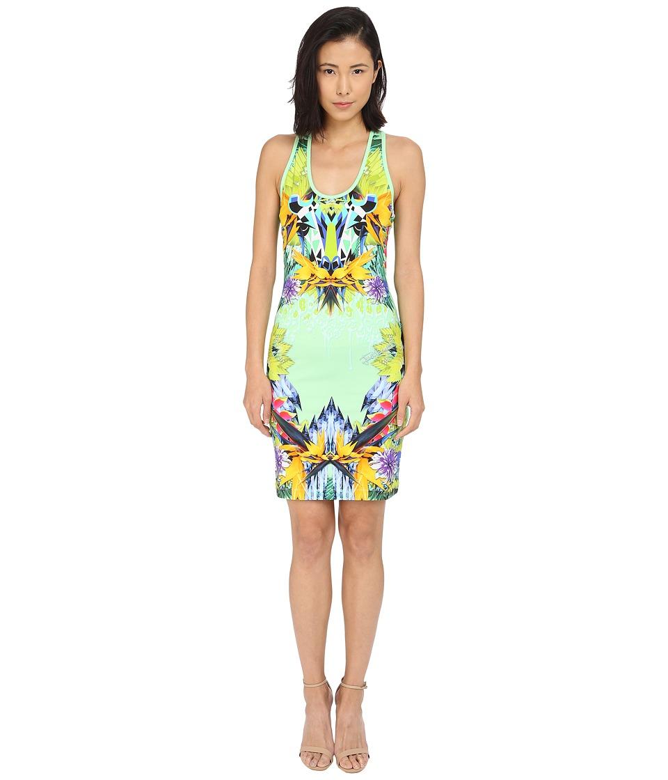 Just Cavalli Fitted Printed Jersey Tank Dress Leo Giraffe Print Lux Green Womens Dress