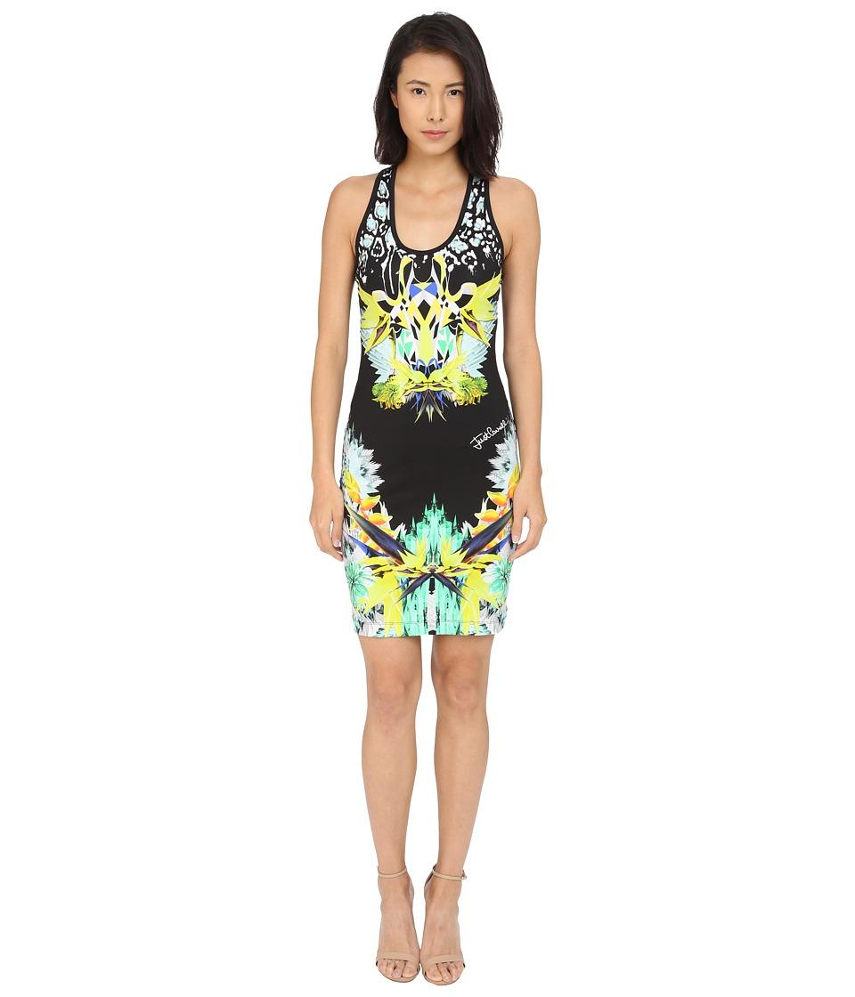 Just Cavalli Fitted Printed Jersey Tank Dress Leo Giraffe Print Black Womens Dress