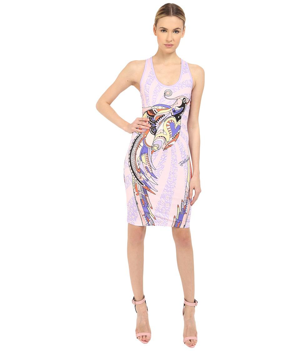 Just Cavalli Fitted Printed Jersey Tank Dress Leo Deco Print Lux Violet Womens Dress