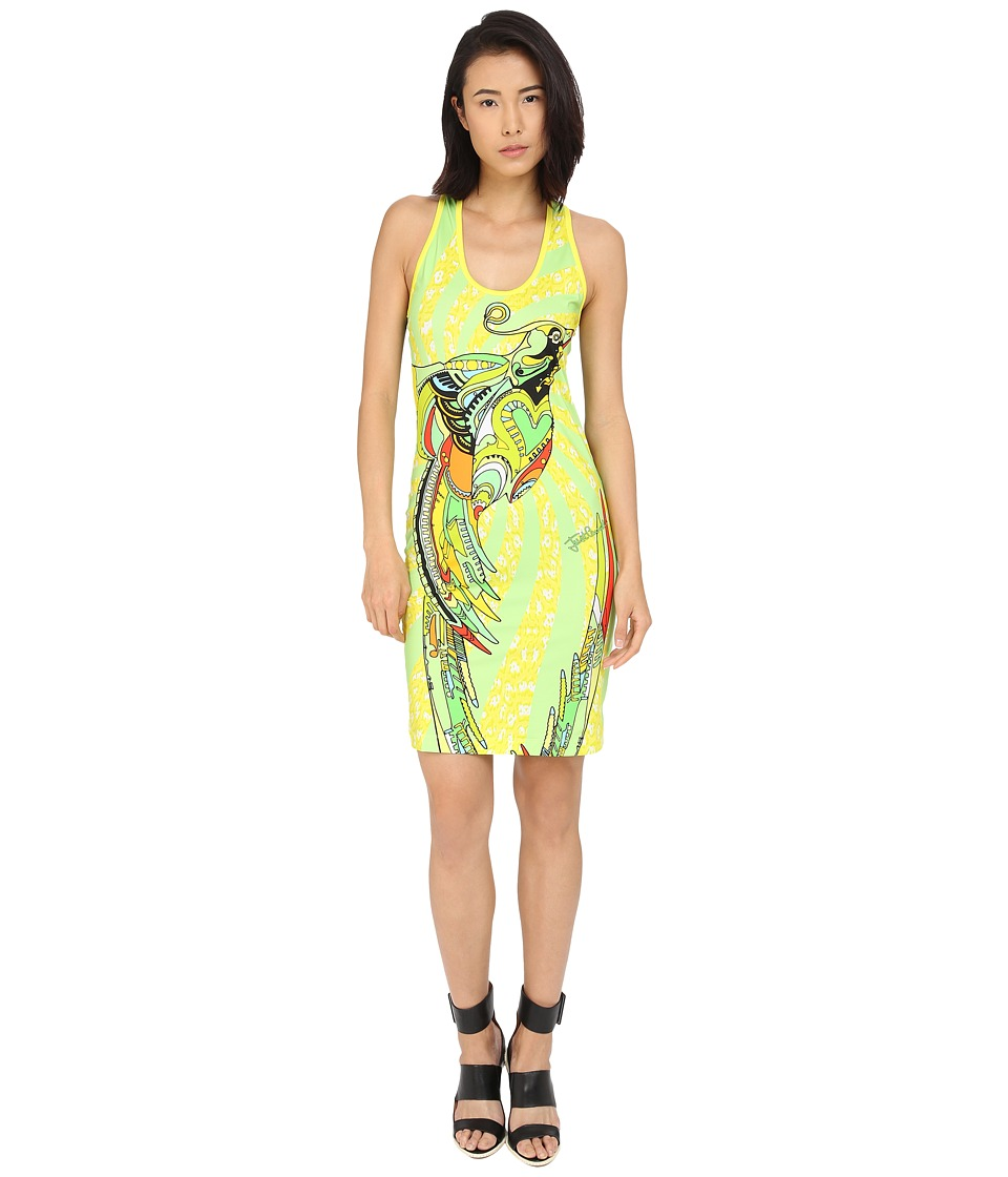 Just Cavalli Fitted Printed Jersey Tank Dress Leo Deco Print Lux Yellow Womens Dress