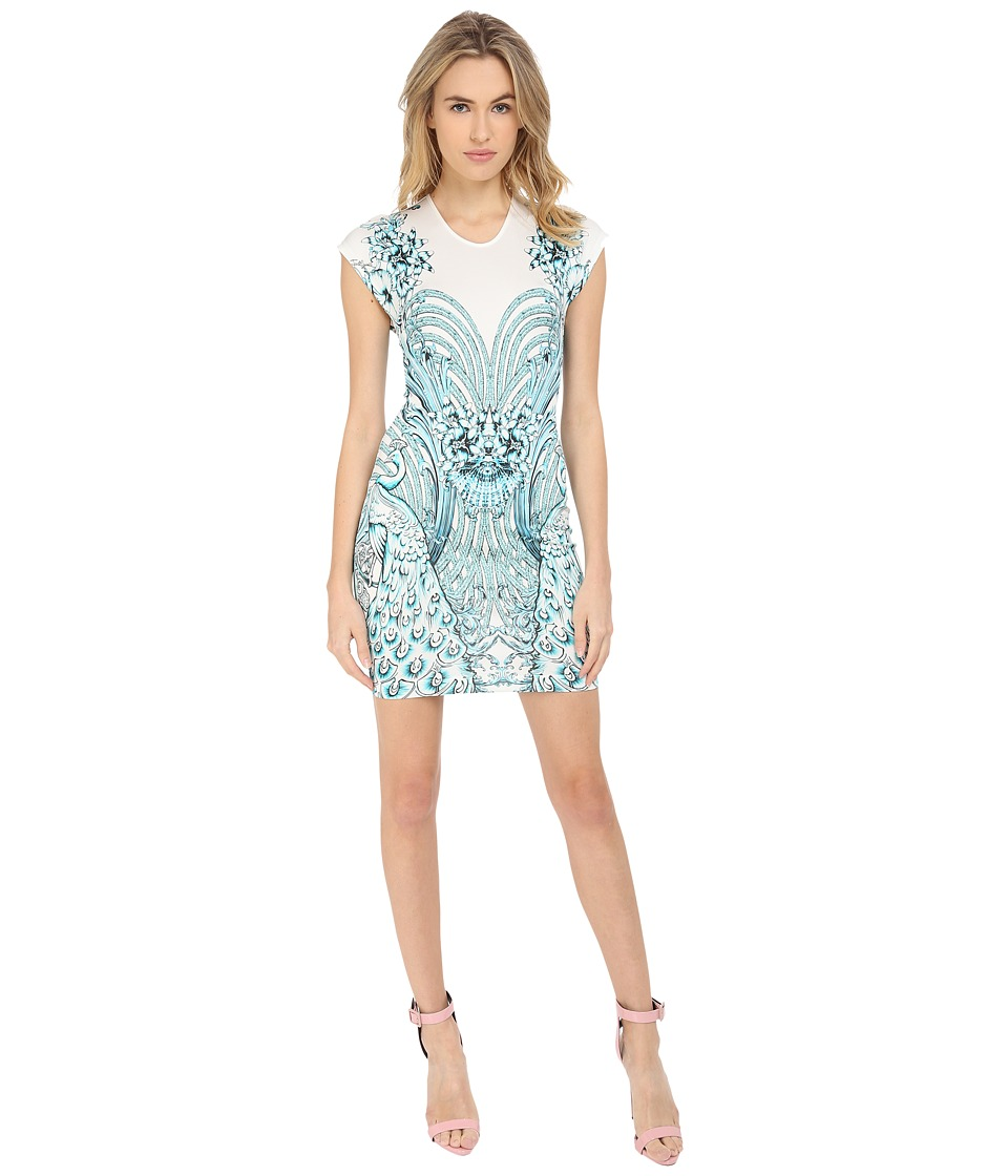 Just Cavalli Fitted Printed Jersey Short Sleeve Dress Peacock Print White Womens Dress