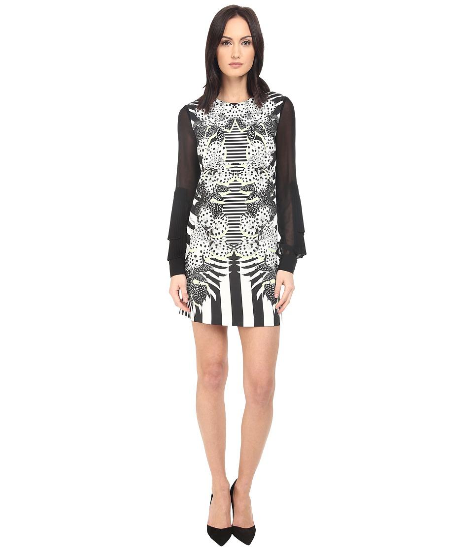 Just Cavalli Maya Print Sheath Dress w/ Chiffon Sleeves White Womens Dress
