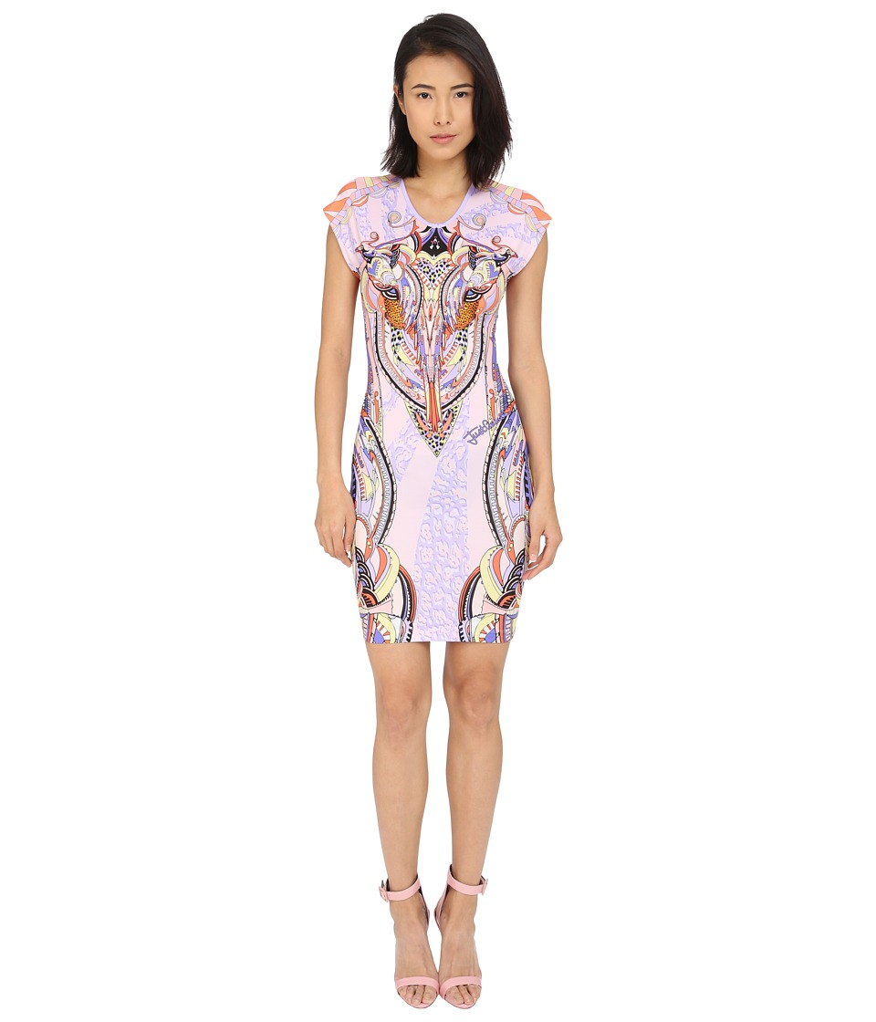 Just Cavalli Fitted Printed Jersey Short Sleeve Dress Leo Deco Print Lux Violet Womens Dress