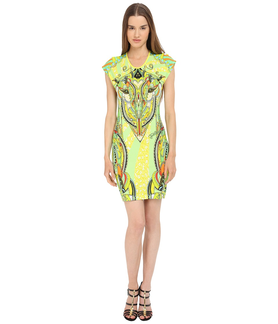 Just Cavalli Fitted Printed Jersey Short Sleeve Dress Leo Deco Print Lux Yellow Womens Dress