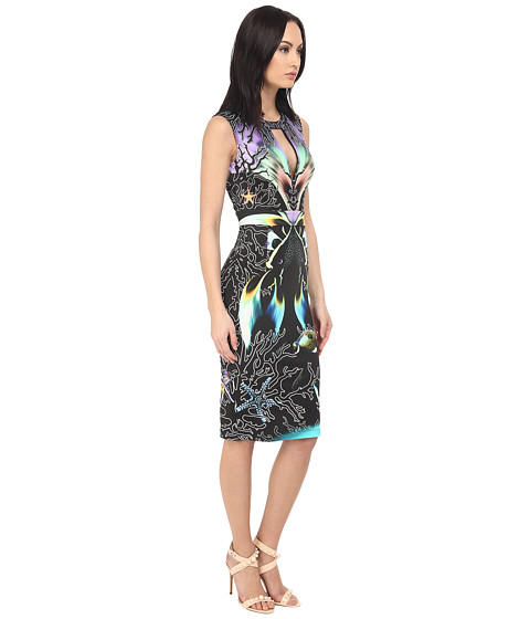 Just cavalli coral fish allover placed print sleeveless for Fish print dress