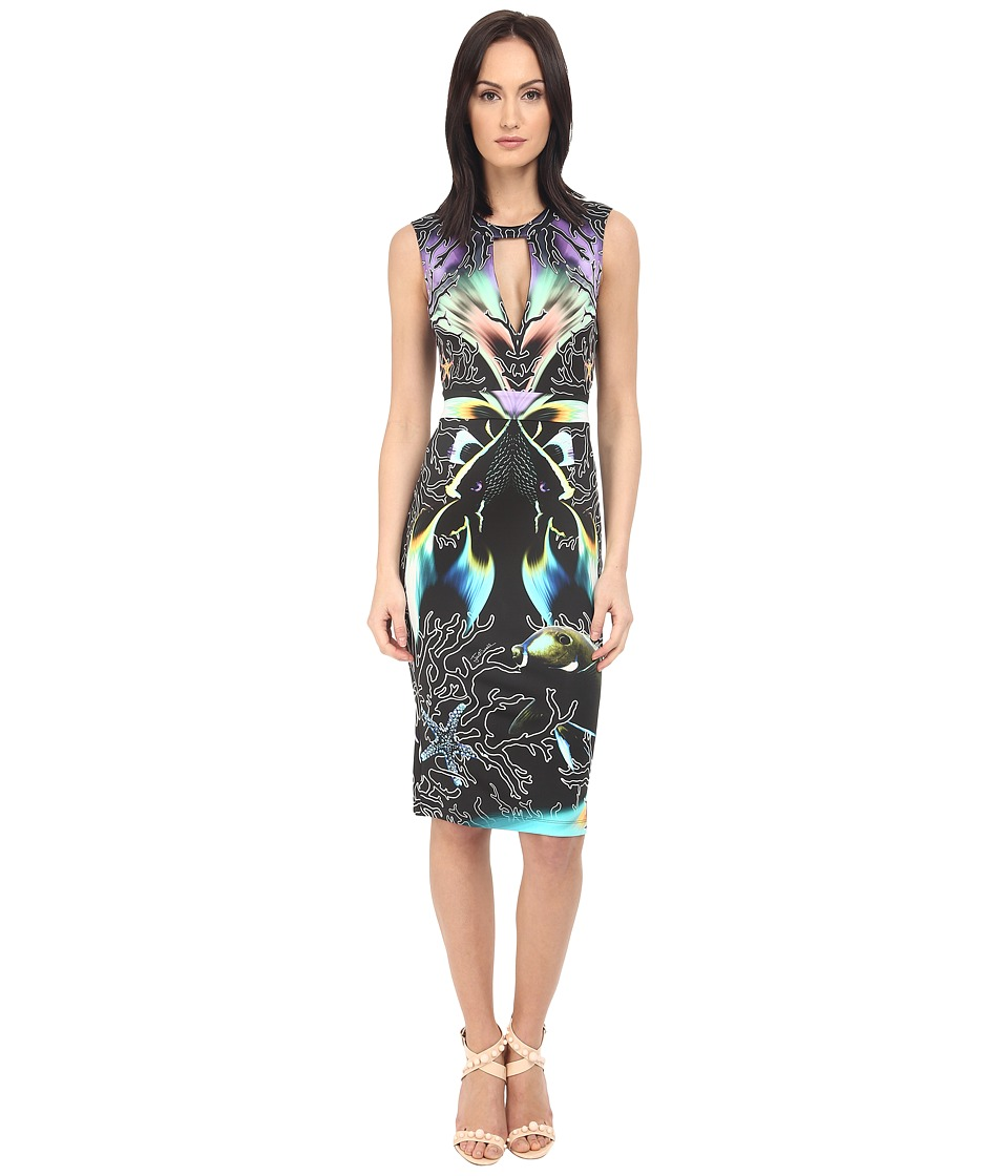 Just Cavalli Coral Fish Allover Placed Print Sleeveless Dress Black Womens Dress