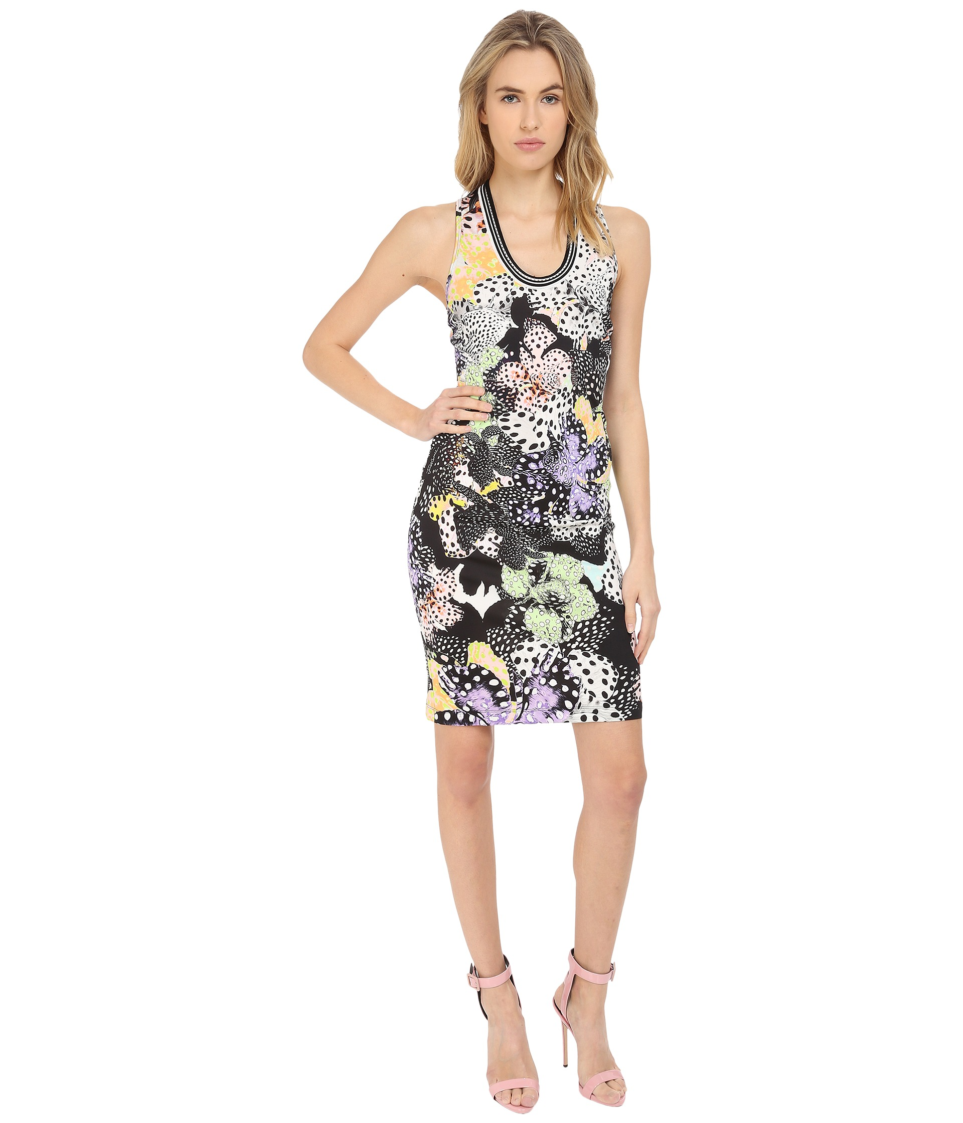 Just cavalli orchid fish print cocktail dress multicolor for Fish print dress