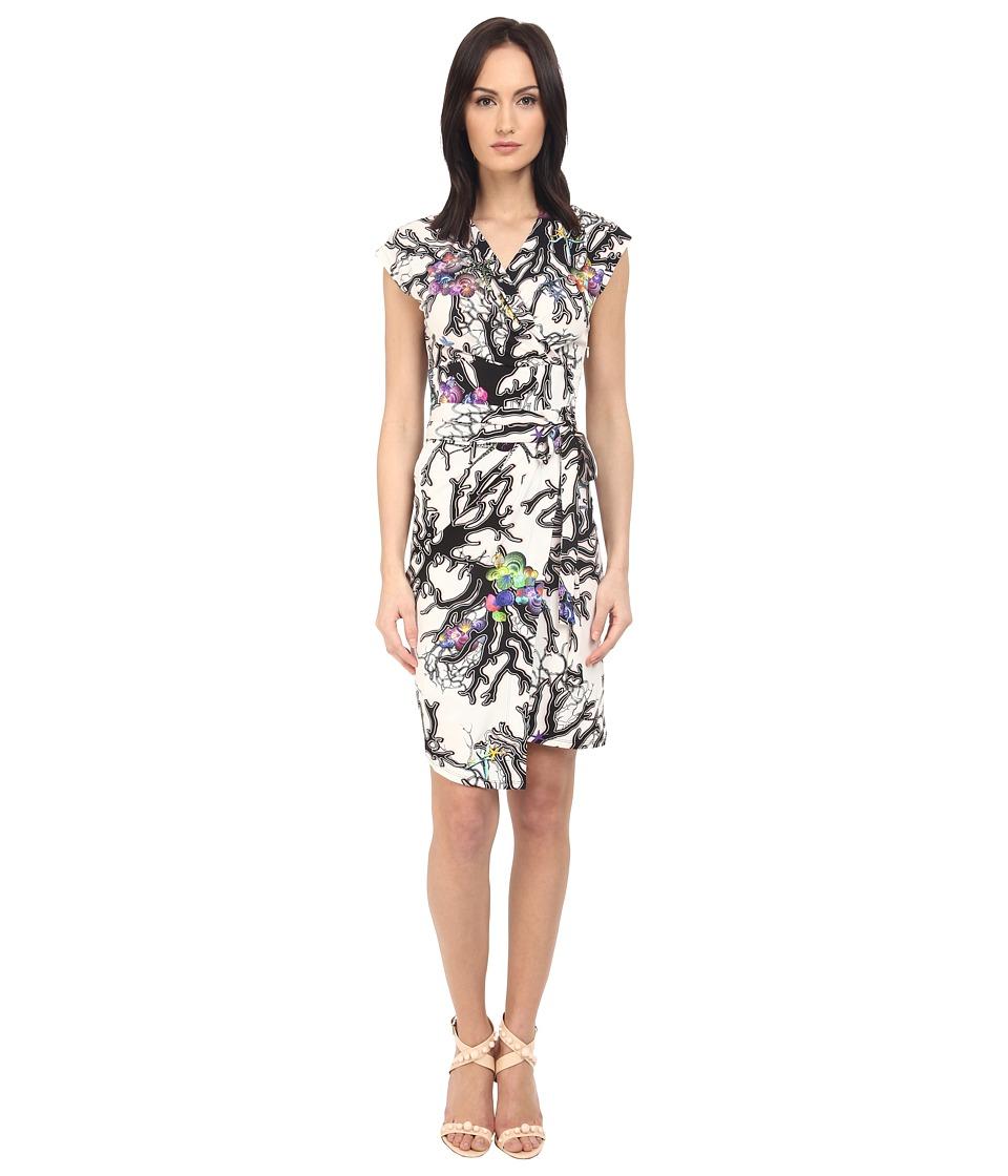 Just Cavalli Opticoral Print Jersey Cap Sleeve Dress Off White Womens Dress