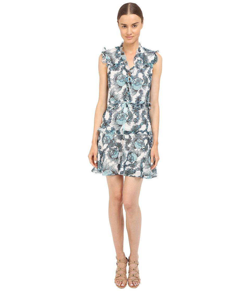 Just Cavalli Onirica Ruffled Printed Sleeveless Dress White Womens Dress
