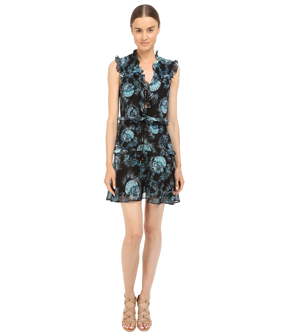 Just Cavalli Onirica Ruffled Printed Sleeveless Dress Black Womens Dress