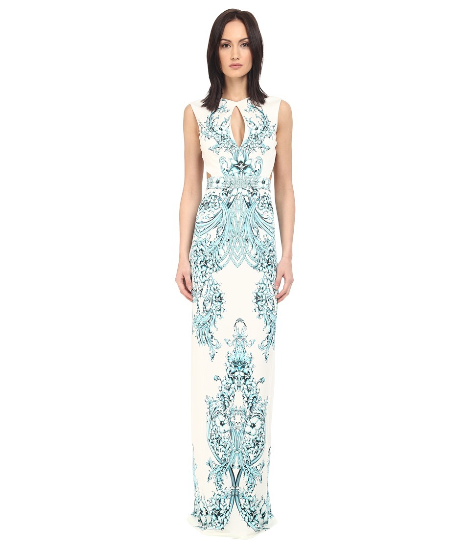 Just Cavalli Backless Keyhole Gown in Peacock Print White Womens Dress
