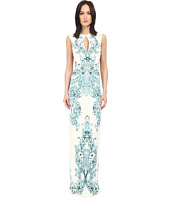 Just Cavalli - Backless Keyhole Gown in Peacock Print
