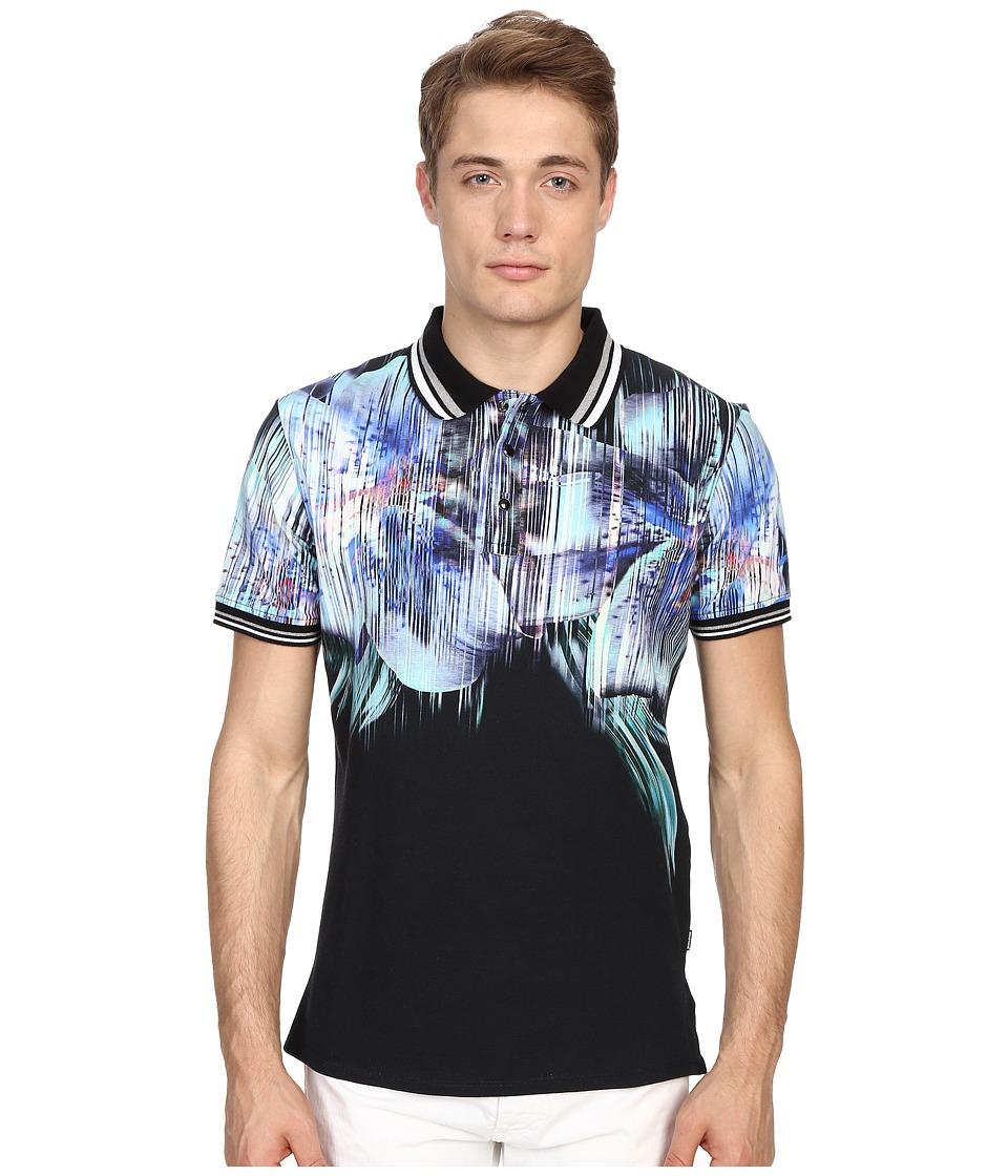 Just Cavalli Tropical Ikat Print Short Sleeve Polo Black Mens Short Sleeve Pullover
