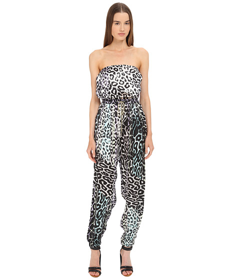Just Cavalli Leo Print Silk Jumpsuit