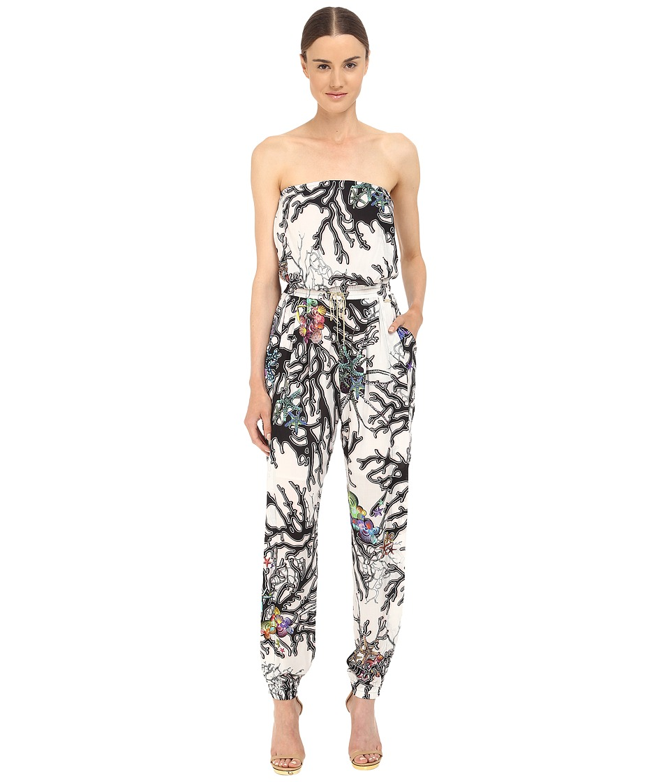 Just Cavalli Coral Fish Print Jumpsuit Off White Womens Jumpsuit Rompers One Piece
