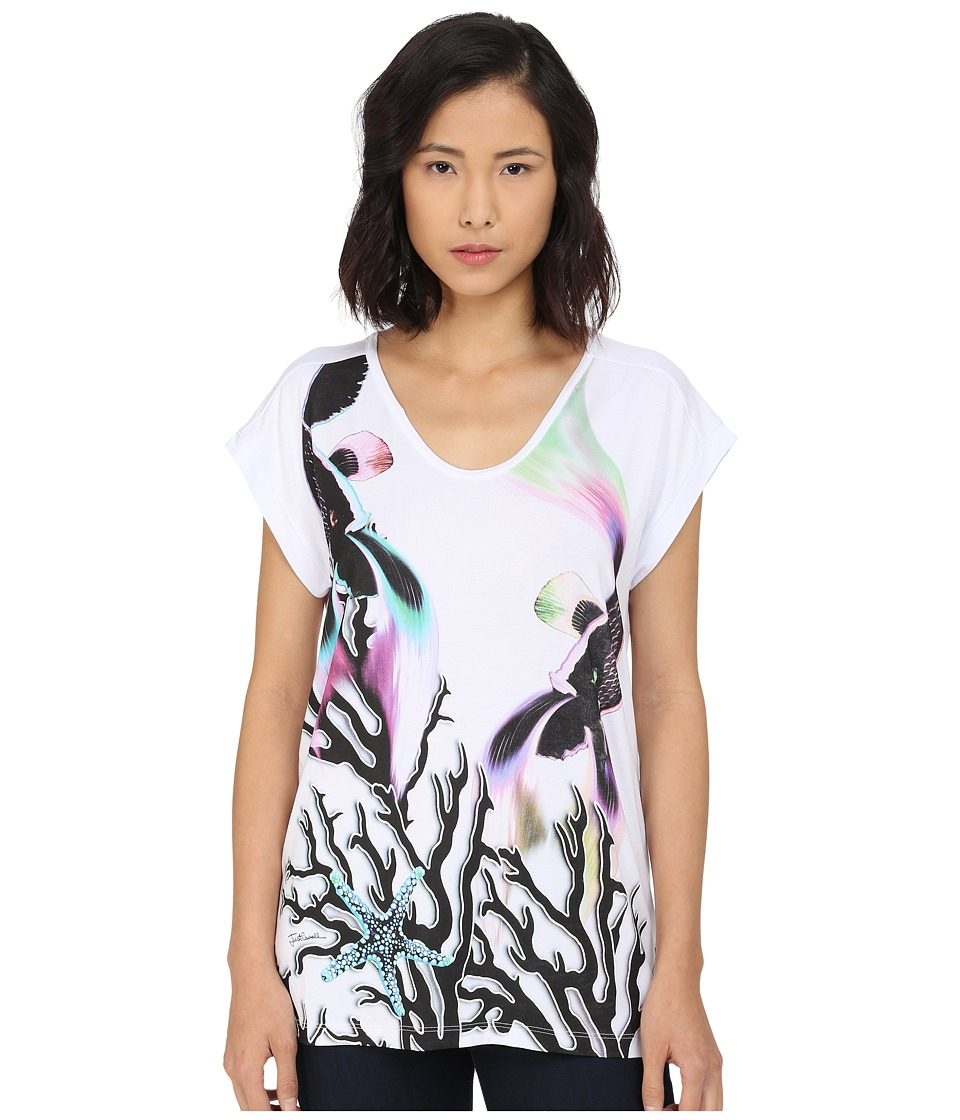 Just Cavalli Coral Fish Print Viscose Boyfriend Tee White Womens Short Sleeve Pullover