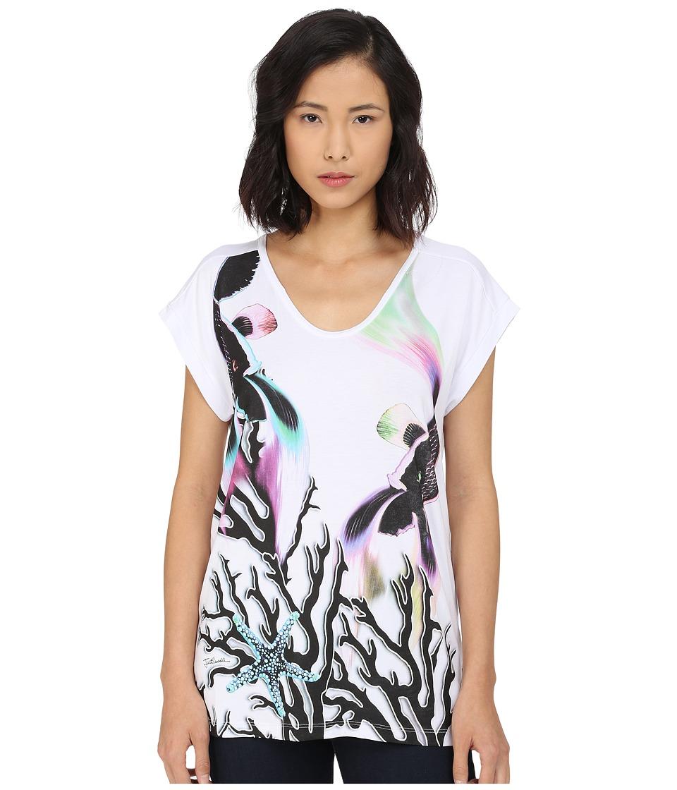 Just Cavalli Coral Fish Print Viscose Boyfriend Tee White Womens Short Sleeve Pullover