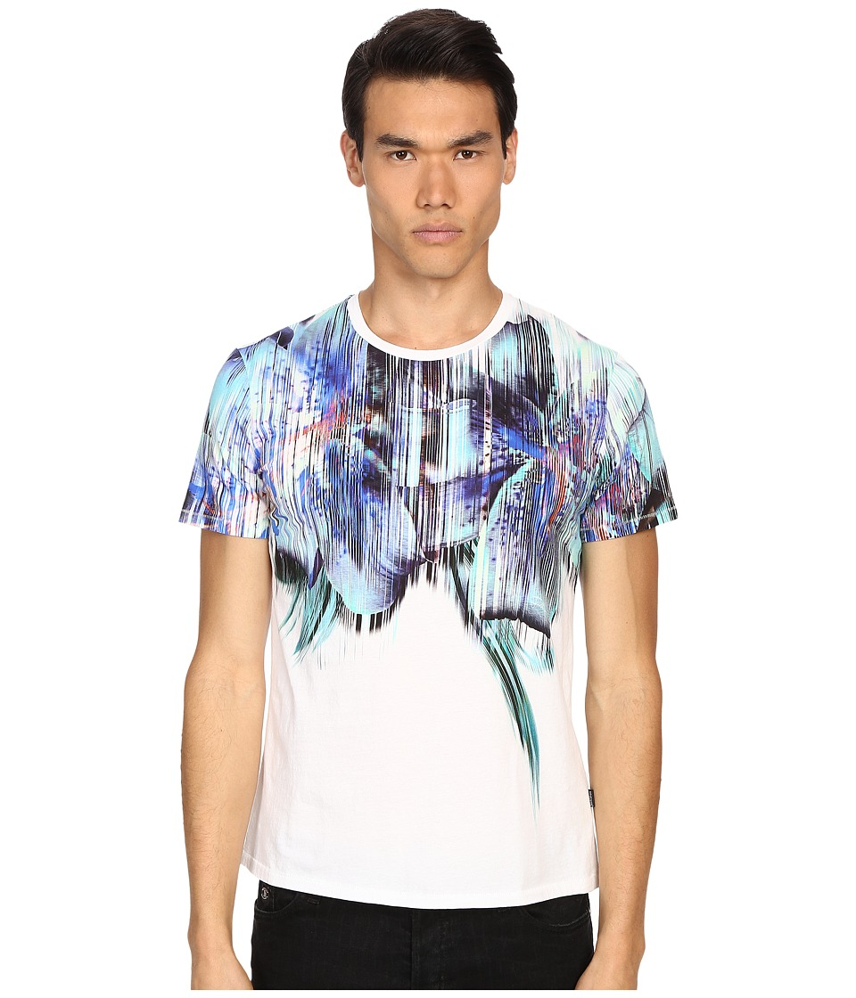 Just Cavalli - Tropical Ikat Print Short Sleeve Crew Neck Tee (White) Men