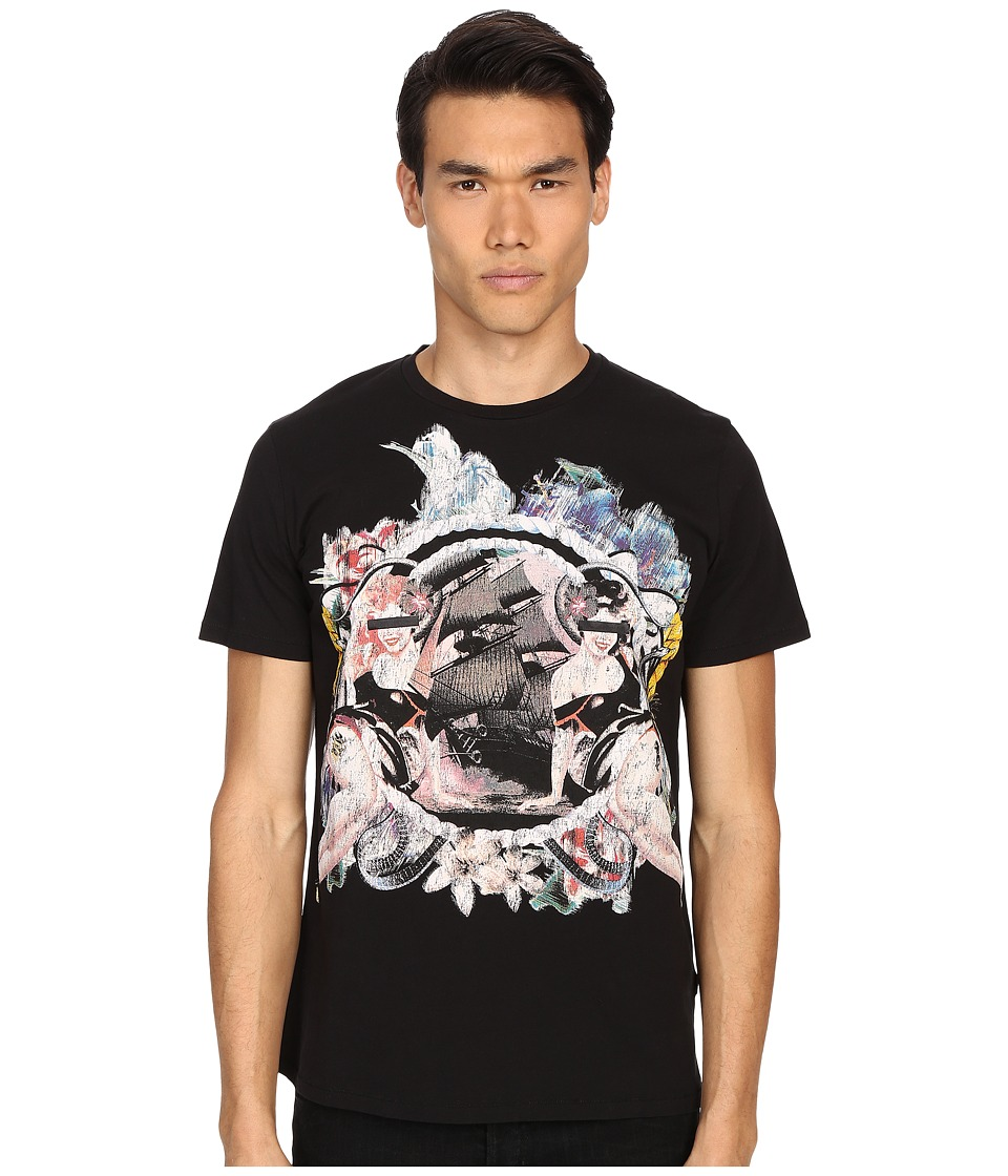 Just Cavalli Pin Up Girl Graphic Short Sleeve Tee Black Mens T Shirt
