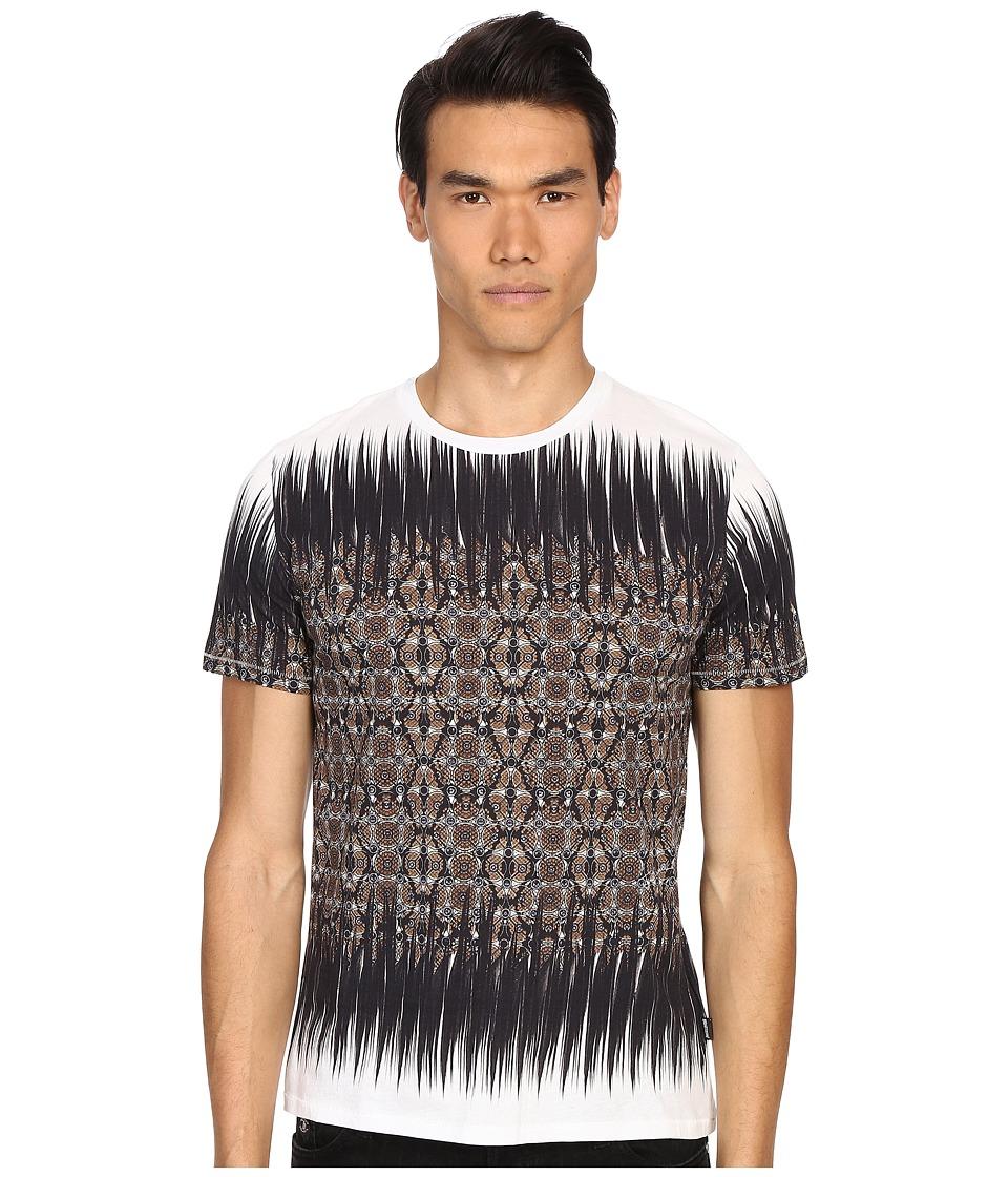 Just Cavalli Nitik Print Short Sleeve Crew Neck Tee Taupe Mens T Shirt