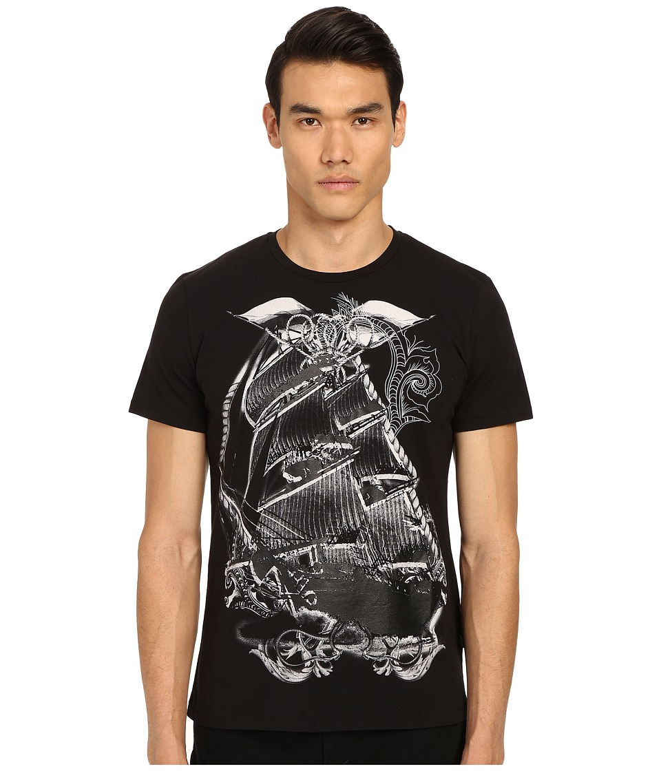 Just Cavalli Pirate Ship Graphic Short Sleeve Tee Black Mens Short Sleeve Pullover