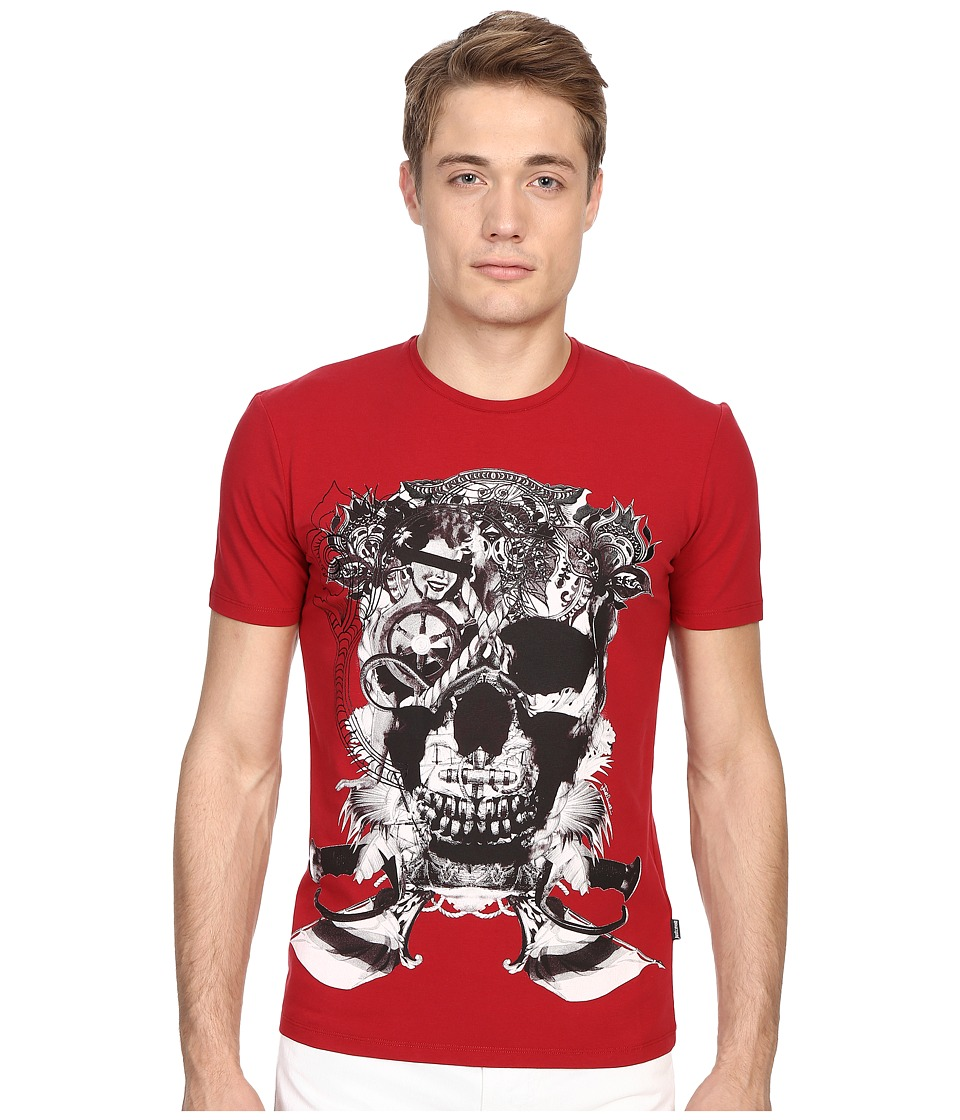 Just Cavalli Skull Jersey Tee Shirt True Red Mens T Shirt