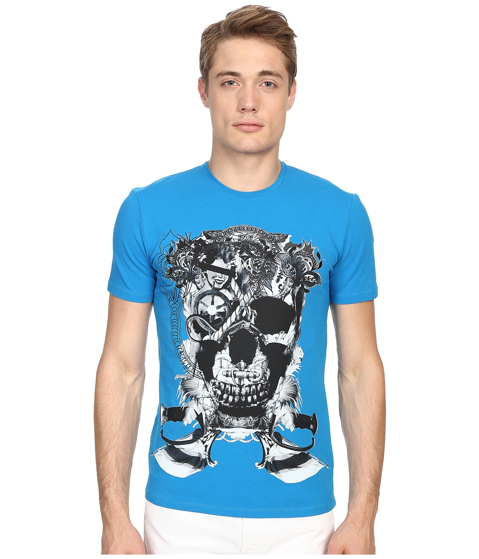 Just Cavalli Skull Jersey Tee Shirt Bali Blue Mens T Shirt
