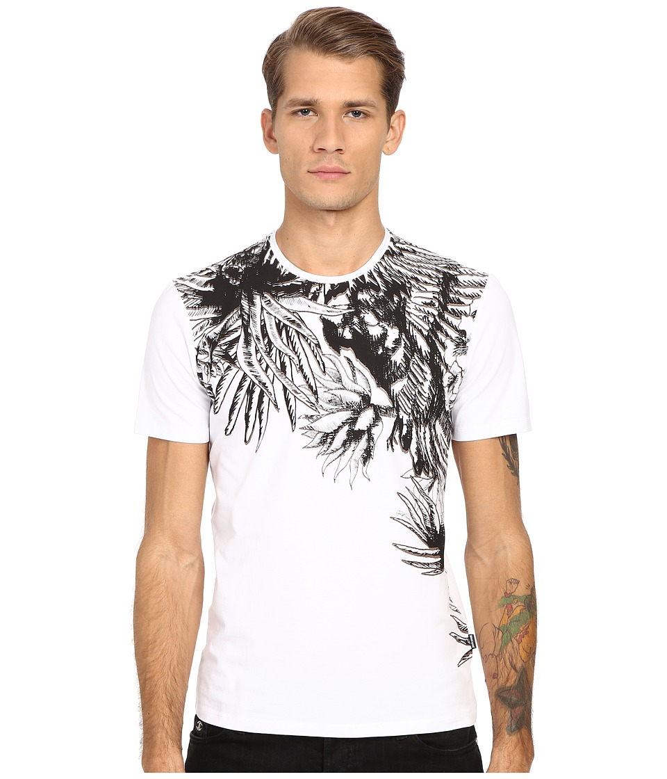 Just Cavalli Palm Leaf Print Short Sleeve Tee White Mens T Shirt