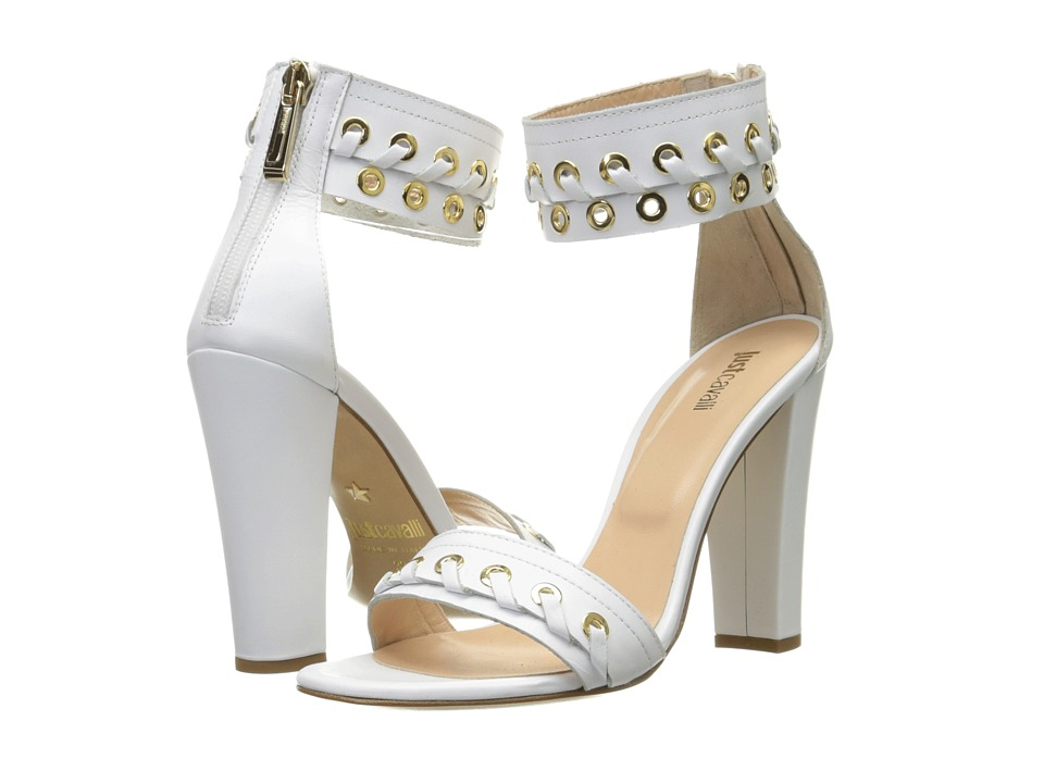 Just Cavalli Calf Leather with Eyelets Off White High Heels
